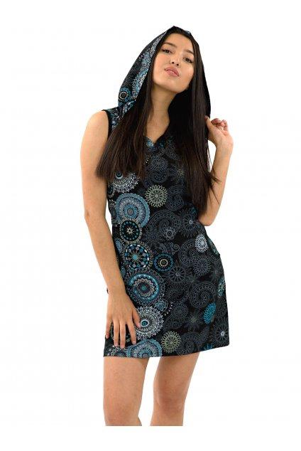 Krátké šaty s kapucí Haina - černá s tyrkysovou