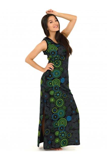 Dlouhé šaty s kapucí Lahaina - černá s limetkovou