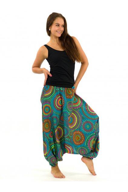 Kalhoty-šaty-top 3v1 Dot - tyrkysové