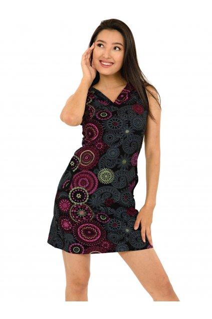 Krátké šaty s kapucí Haina - černá s růžovou