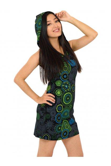 Krátké šaty s kapucí Haina - černá s limetkovou
