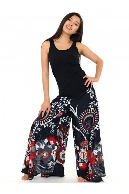 Široké kalhoty Tika - černé s červenou