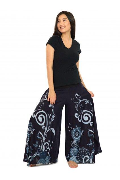 Široké kalhoty Suwa - černo-šedé