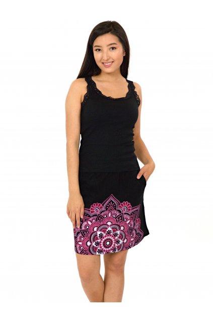 Krátká sukně Manoa - černá s růžovou