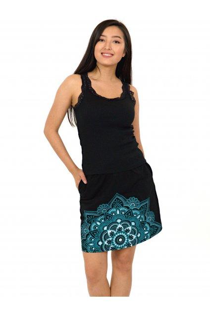 Krátká sukně Manoa - černá s tyrkysovou