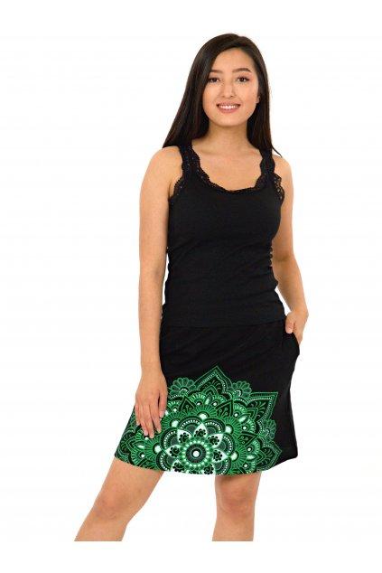 Krátká sukně Manoa - černá se zelenou