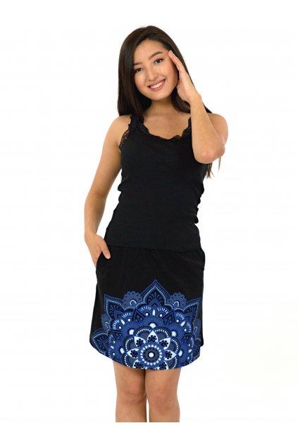 Krátká sukně Manoa - černá s modrou