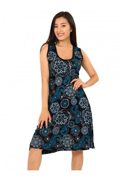 Šaty Anela - černá s tyrkysovou