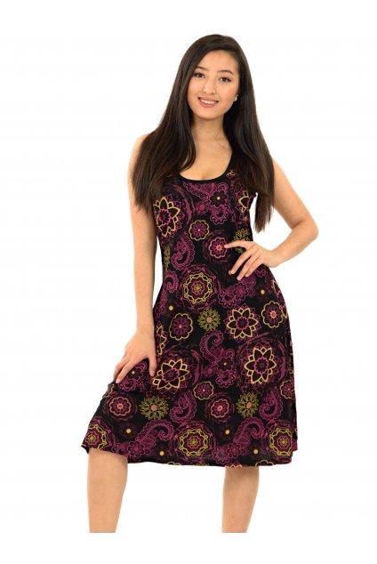 Šaty Anela - černá s růžovou