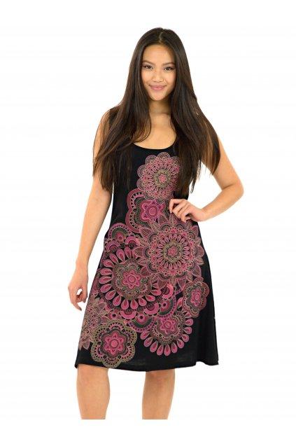 Šaty Keoni - černá s růžovou