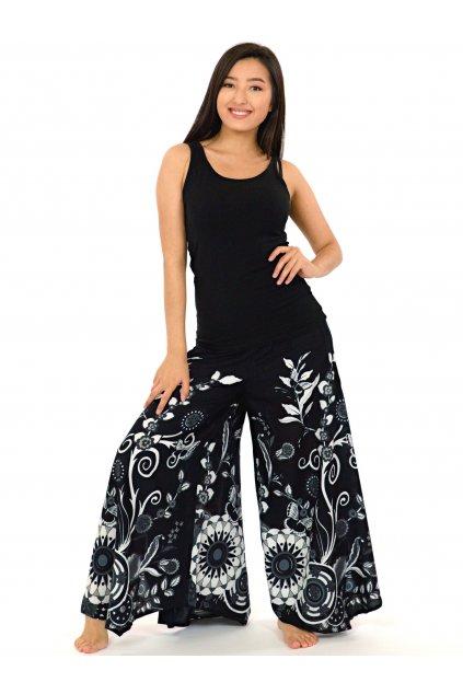 Široké kalhoty Flora - černé s bílou