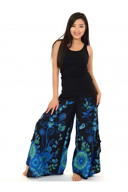 Široké kalhoty Flora - černé s tyrkysovou