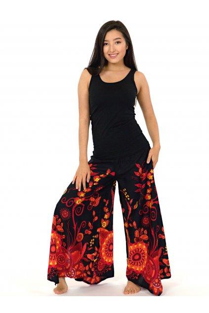 Široké kalhoty Flora - černé s červenou