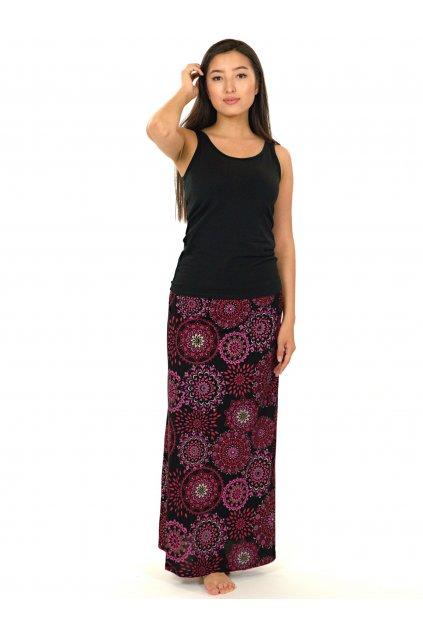Dlouhá sukně Wahine - černá s růžovou