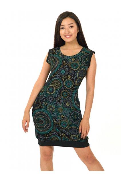 Šaty Flowee - černá s tyrkysovou