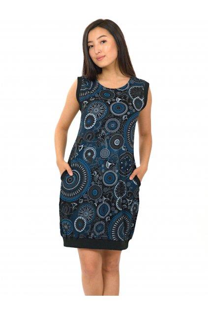 Šaty Flowee - černá s modrou