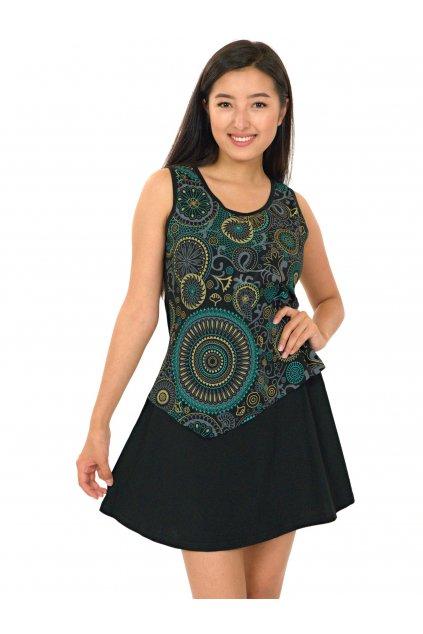 Šaty Maruru - černá s tyrkysovou