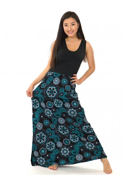 Dlouhé maxi šaty Kalimera - černá s tyrkysovou