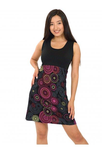Šaty Maupiti- černá s růžovou