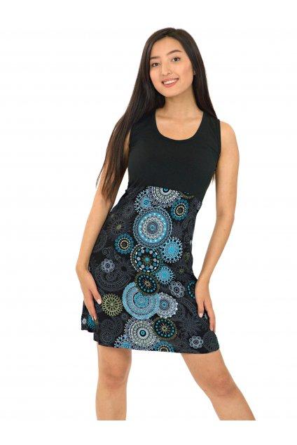 Šaty Maupiti- černá s tyrkysovou