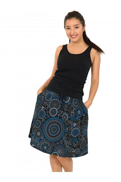 Midi sukně Haiku - černá s modrou