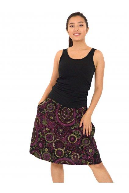 Midi sukně Haiku - černá s růžovou