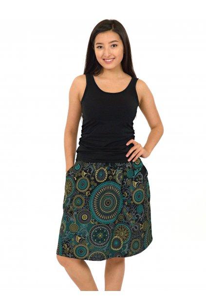 Midi sukně Haiku - černá s tyrkysovou