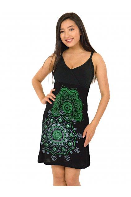 Šaty Akaroa - černá se zelenou