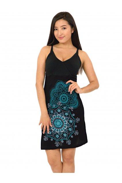 Šaty Akaroa - černá se tyrkysovou
