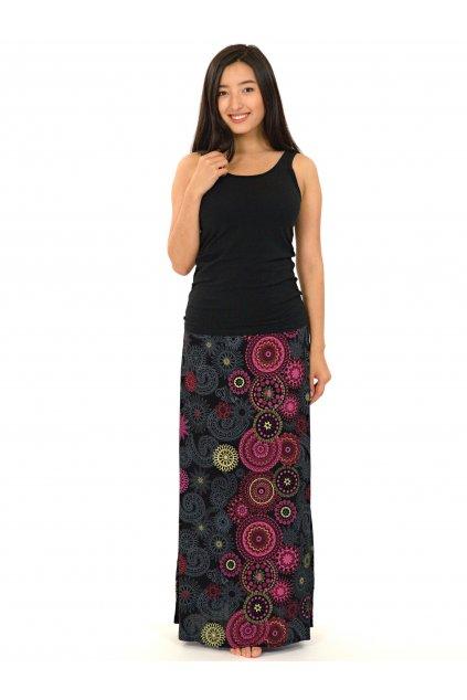 Dlouhá sukně Savai - černá s růžovou