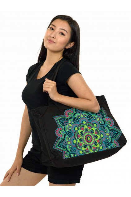 Maxi kabelka Loa - černá s barvami