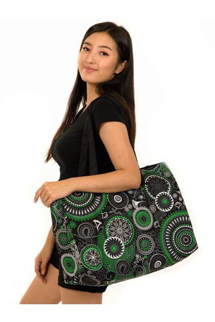 Maxi kabelka Maui - černá se zelenou