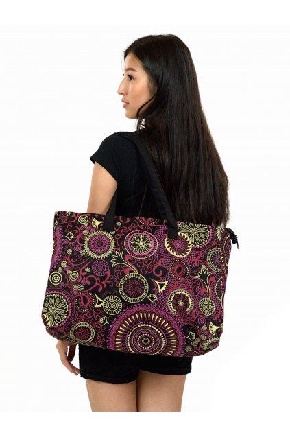 Maxi kabelka Maui - černá s růžovou