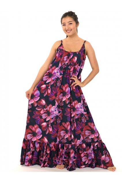 Vzdušné maxi šaty Tiaré - růžová s fialovou