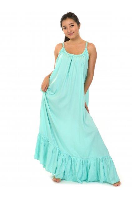 Vzdušné maxi šaty Monoi - tyrkysová
