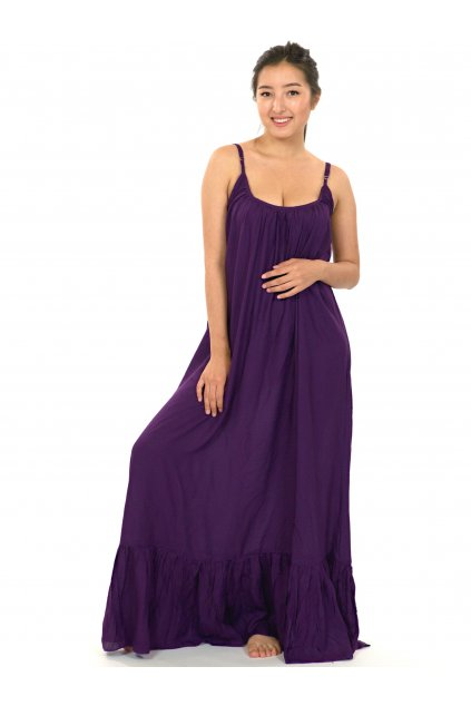 Vzdušné maxi šaty Monoi - ostružinová