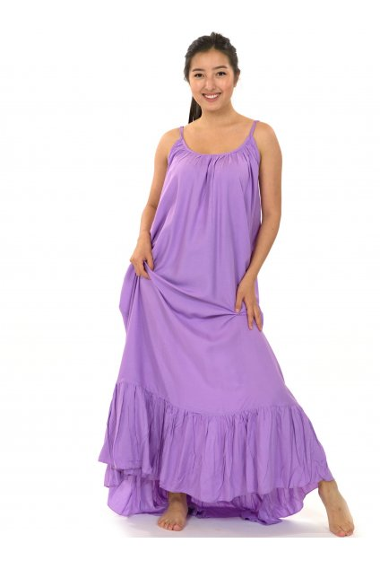 Vzdušné maxi šaty Monoi - levandulová