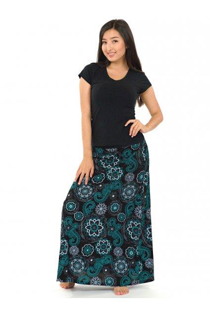 Dlouhá sukně Bora- černá s tyrkysovou