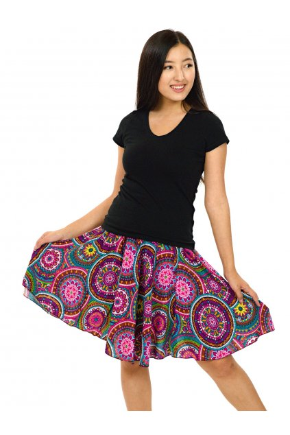 Kolová sukně Tehani - barevná
