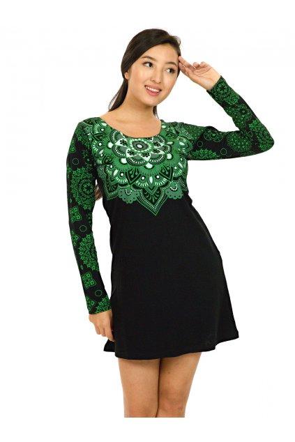 Tunika / šaty Laulima - černá se zelenou