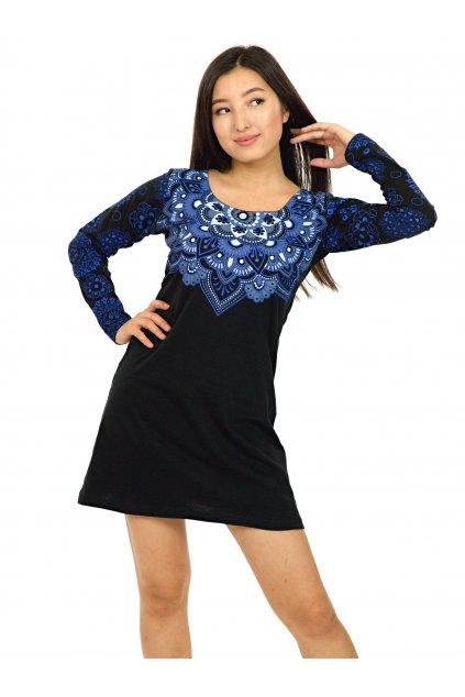 Tunika / šaty Laulima - černá s modrou