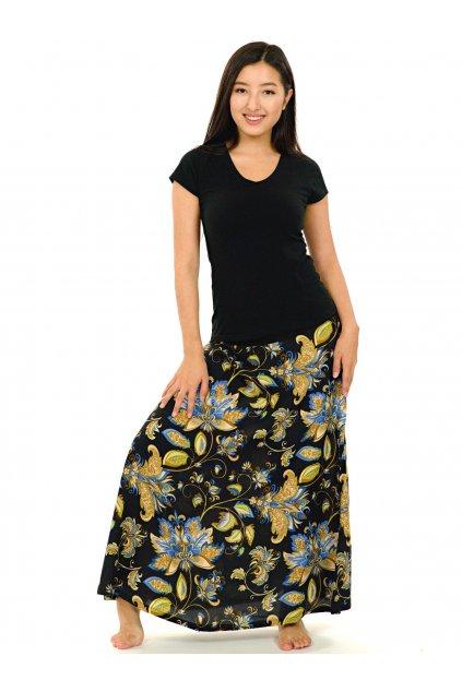 Dlouhá sukně Rauana - černá s barvami