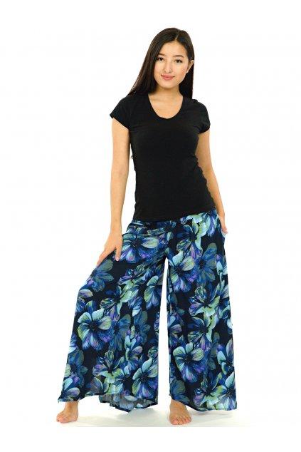 Široké kalhoty Tiaré - tyrkysové s modrou
