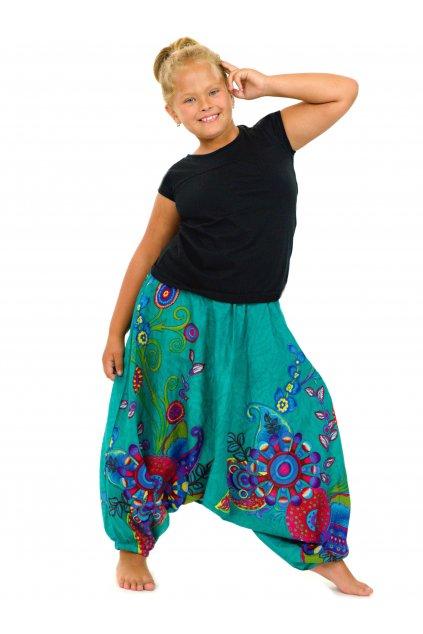 Dětské kalhoty-šaty-top 3v1 Garden of Nepal - tyrkysové