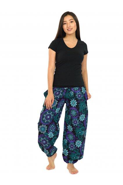 Kalhoty Hooki - tyrkysová s fialovou