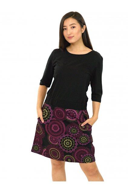 Šaty Kauai s 3/4 rukávem - černá s růžovou