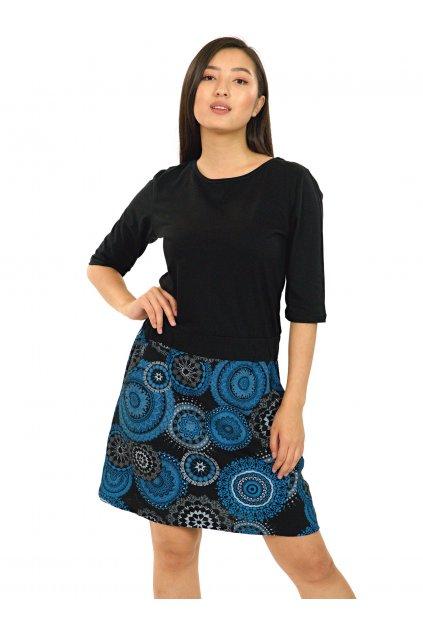 Šaty Kauai s 3/4 rukávem - černá s modrou