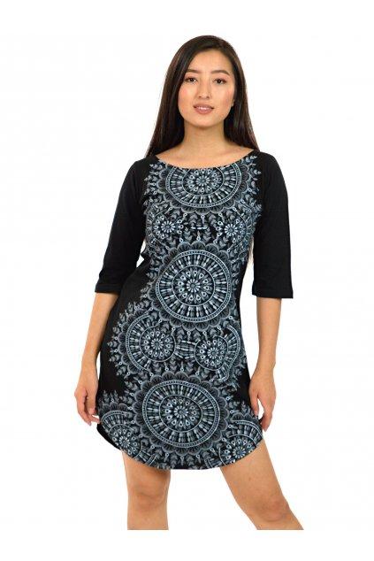 Tunika / šaty s 3/4 rukávem Lihue - černá s bílou