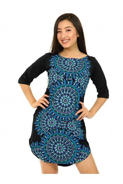 Tunika / šaty s 3/4 rukávem Lihue - tyrkysová s fialovou