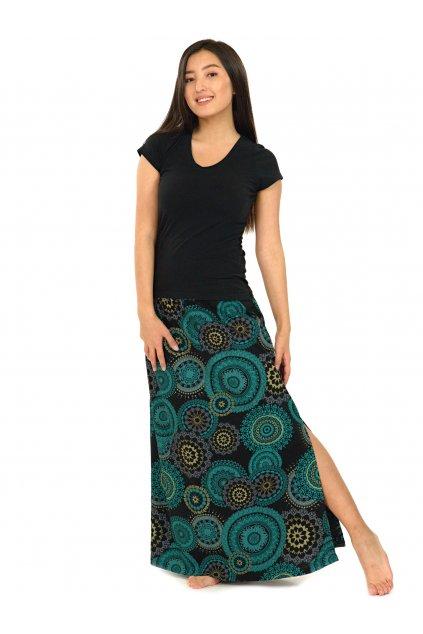 Dlouhá sukně Kilauea- černá s tyrkysovou